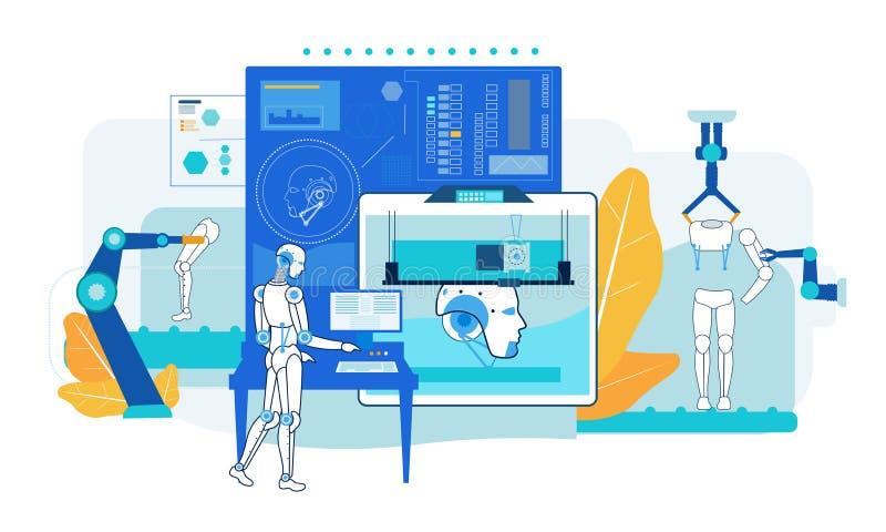 Asamblea del robot Fábrica automática de la producción plano stock de ilustración