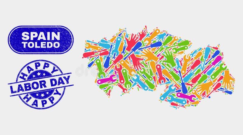 Asamblea Toledo Province Map y apenar filigranas felices del Día del Trabajo stock de ilustración