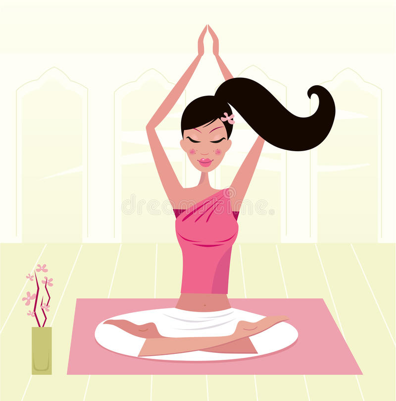 asana思考的实践的女子瑜伽 向量例证