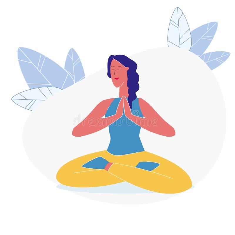 Asana, de Vlakke Vectorillustratie van de Yogaoefening stock illustratie