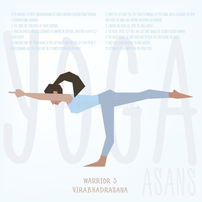 Asana do guerreiro 3 (Virabhadrasana III) Vector o molde ilustrado do cartaz com a menina que faz exercícios da ioga ilustração do vetor
