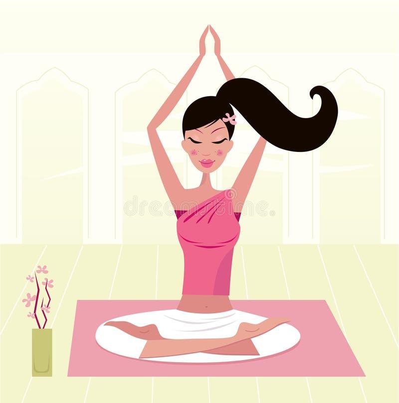 Asana praticando Meditating da ioga da mulher ilustração do vetor