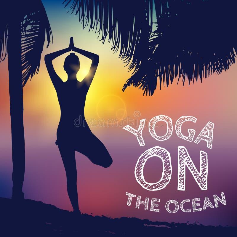 Asana, yoga de pose, silhouette femelle Mode de vie sain et de beauté Fond de coucher du soleil illustration stock