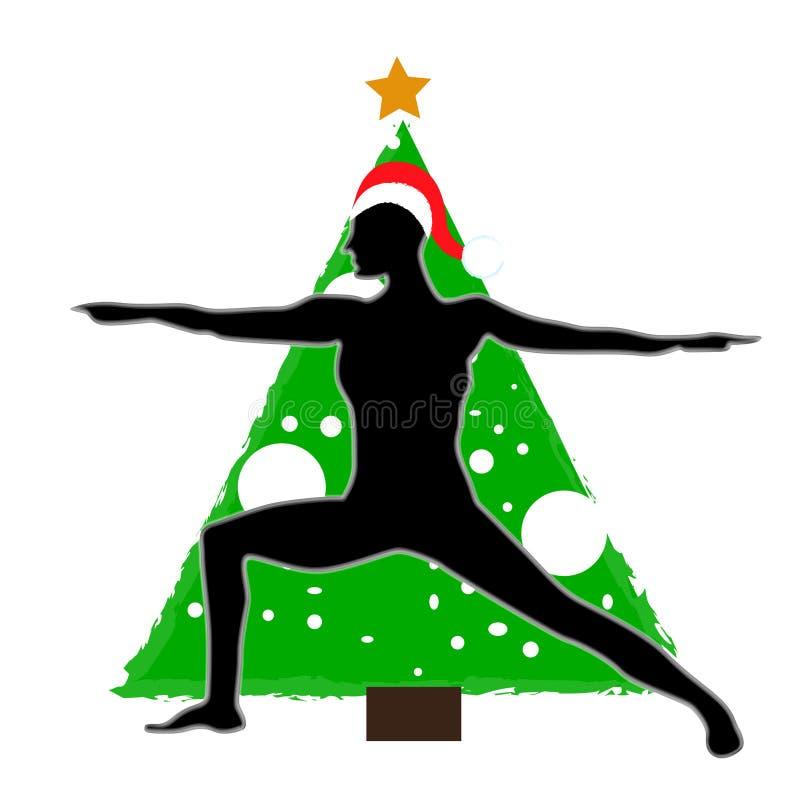 Asana Yoga des Weihnachtsneuen Jahres auf dem Hintergrund des Weihnachtsbaums im Santa Claus-Hut lizenzfreie abbildung