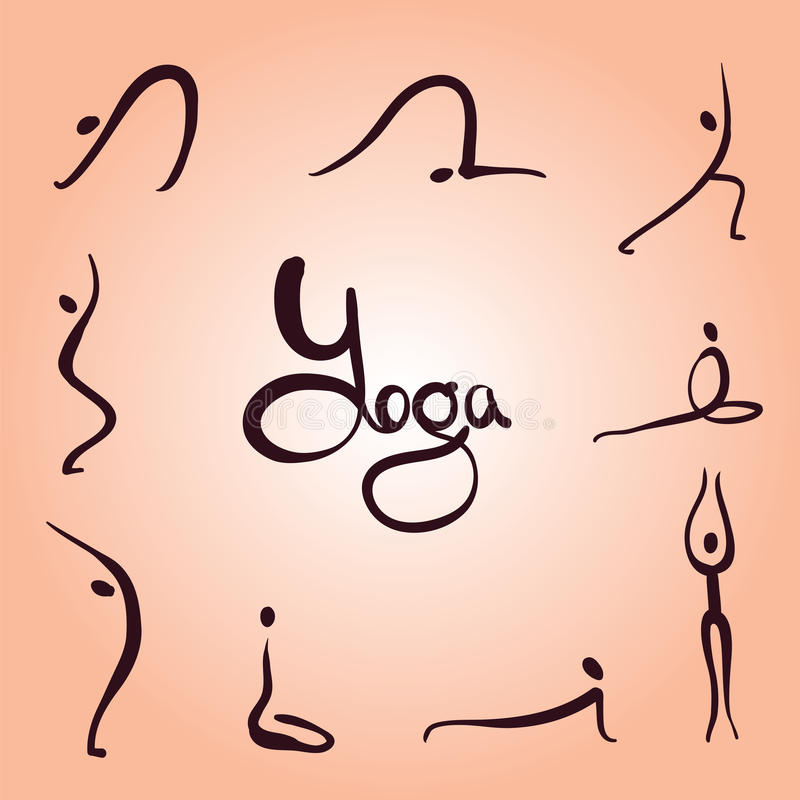 Asanas da ioga simples ilustração stock