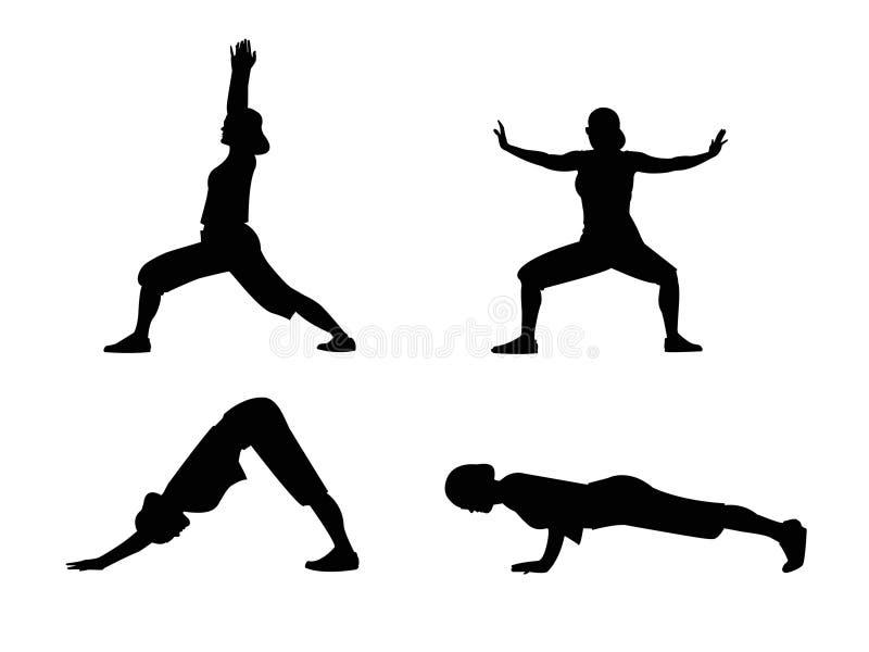 Asanas de la yoga ilustración del vector