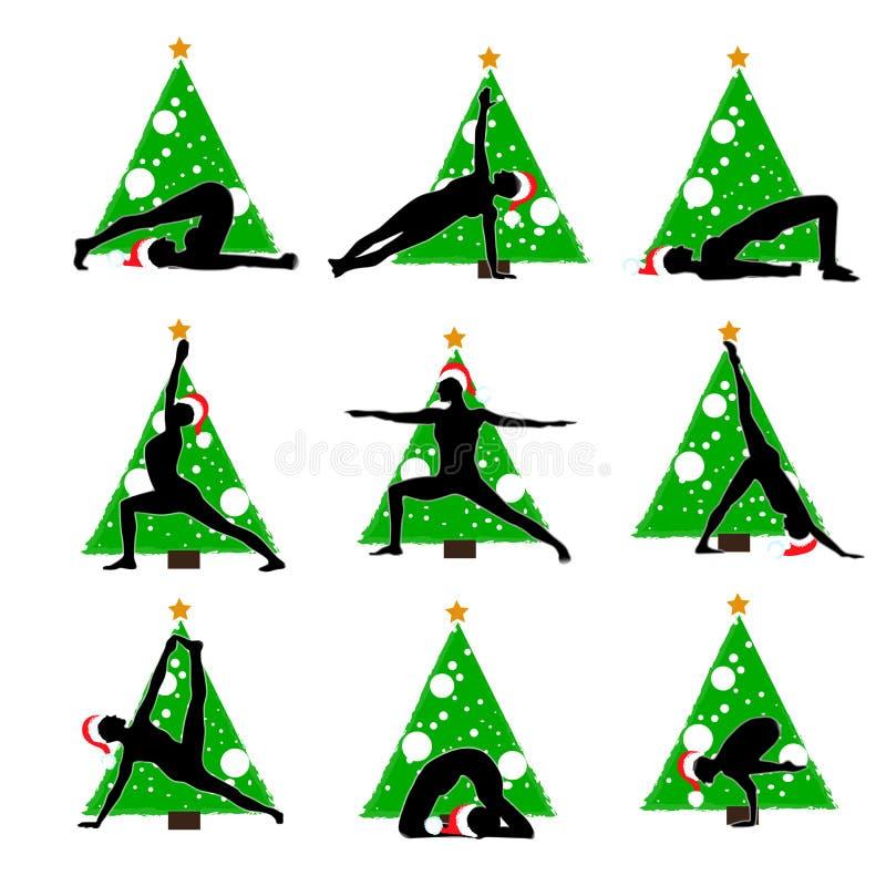 Asanas de la yoga del Año Nuevo de la Navidad ilustración del vector
