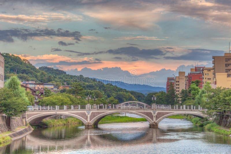 Asanogawa rzeka przy zmierzchem, Kanazawa, Ishikawa obrazy royalty free