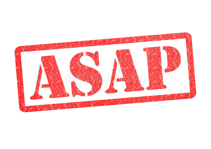ASAP Rubber Stamp. ASAP red rubber stamp over a white background stock images