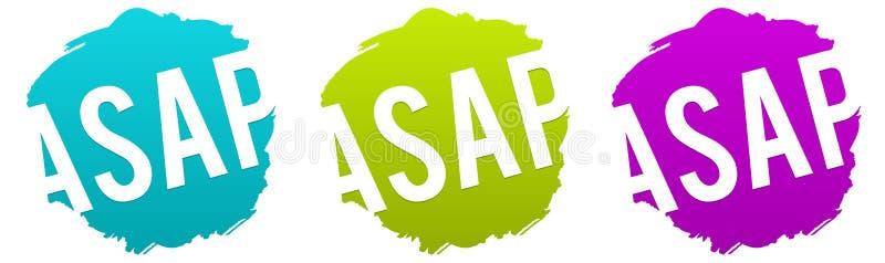 ASAP - Så snart som möjligt vektoremblem vektor illustrationer