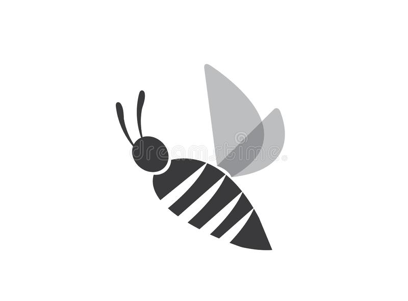 Asas abertas da abelha simples e para voar para o vetor do projeto do logotipo, ícone do inseto ilustração royalty free