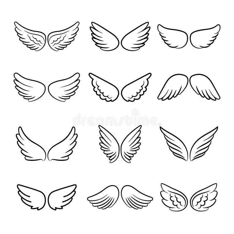 Asas bonitos do anjo ajustadas ilustração stock