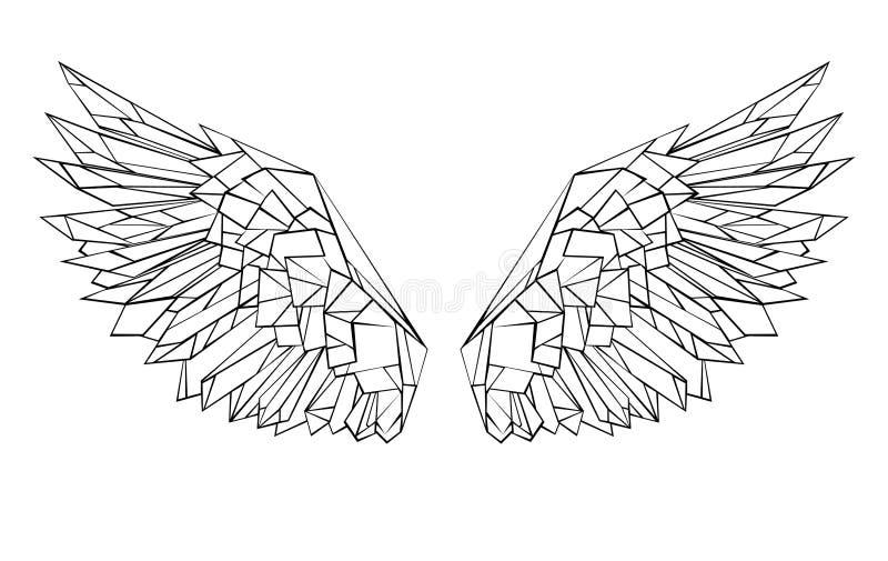 Asas brancas das asas poligonais para a tatuagem ilustração royalty free