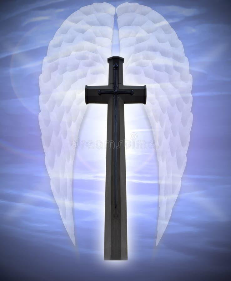 Asas da cruz e do anjo ilustração do vetor