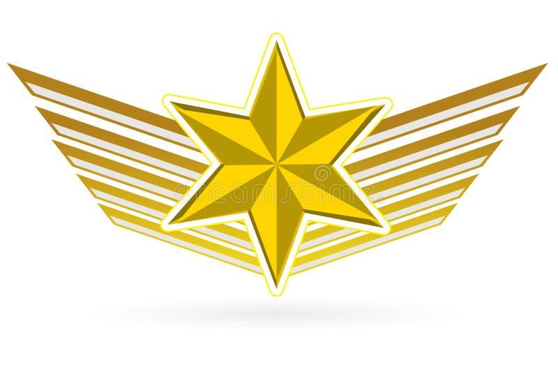 Asas da estrela do ouro ilustração royalty free