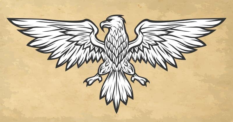 Asas da propagação da mascote de Eagle Estilo do vintage ilustração do vetor