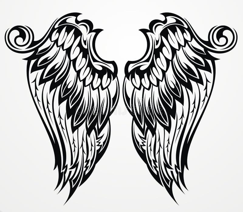 Asas da tatuagem ilustração do vetor