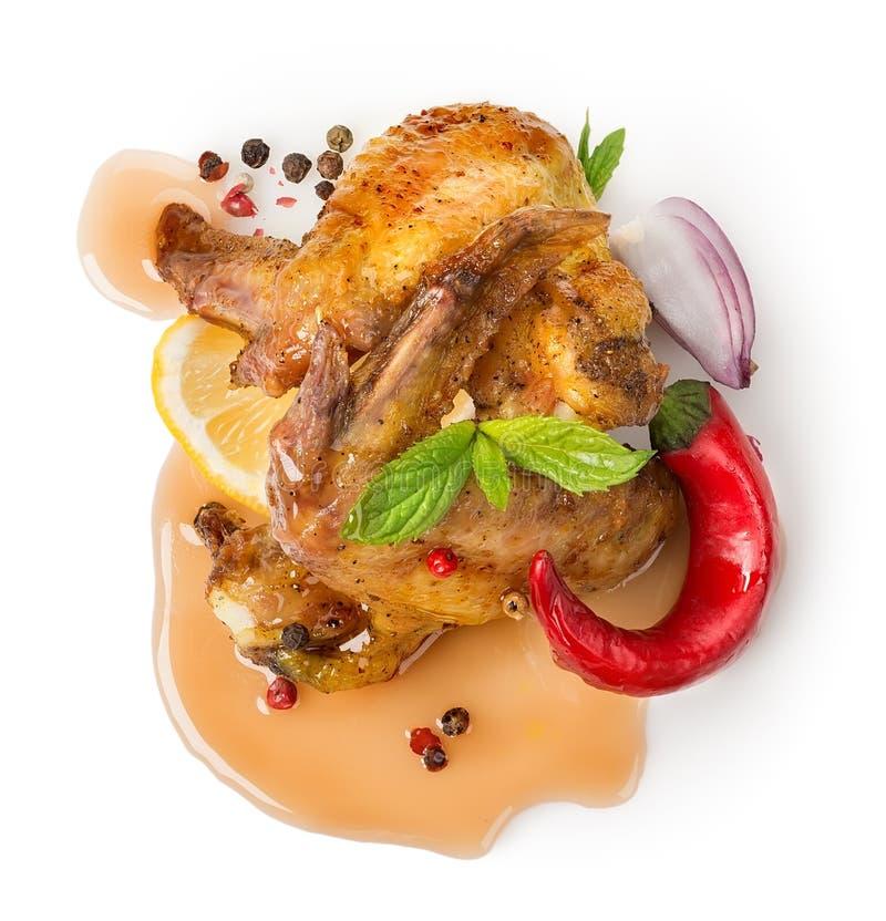 Asas de galinha com vegetais imagens de stock royalty free