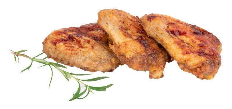 Asas de galinha grelhadas isoladas no fundo branco imagem de stock