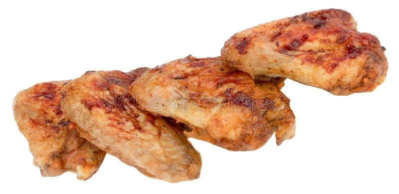 Asas de galinha grelhadas isoladas no fundo branco imagens de stock