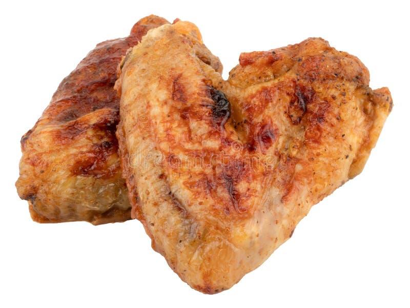 Asas de galinha grelhadas isoladas no fundo branco foto de stock royalty free