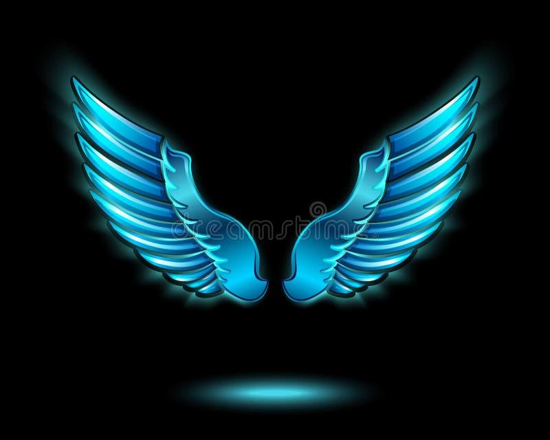Asas de incandescência azuis do anjo ilustração do vetor