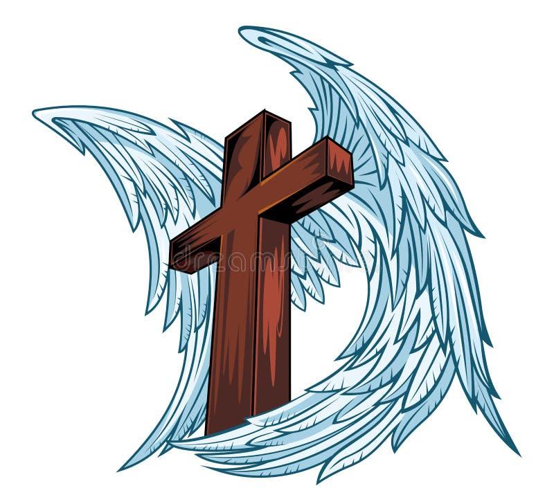Asas do anjo com cruz de madeira ilustração do vetor