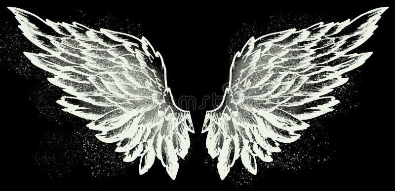 Asas do anjo no preto ilustração royalty free