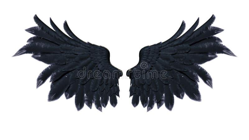 Asas do demônio, Wing Plumage preto no fundo branco ilustração stock