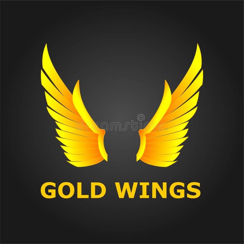 Asas do ouro, projeto bonito e asas modernas ilustração stock