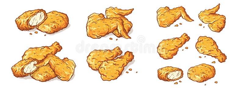 Asas do pé e pepitas Fried Chicken Isolated Set ilustração stock