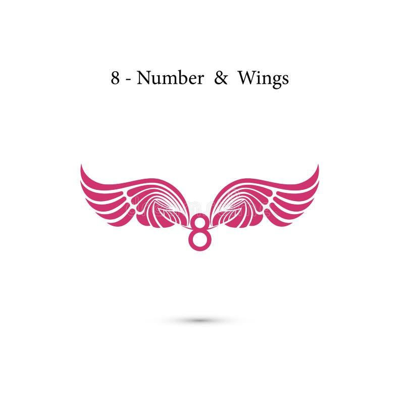 asas do sinal 8-number & do anjo Letras e asas elegantes do alfabeto C ilustração royalty free