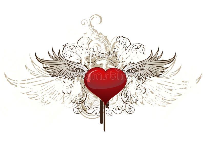 Asas do witj do coração de Grunge ilustração stock