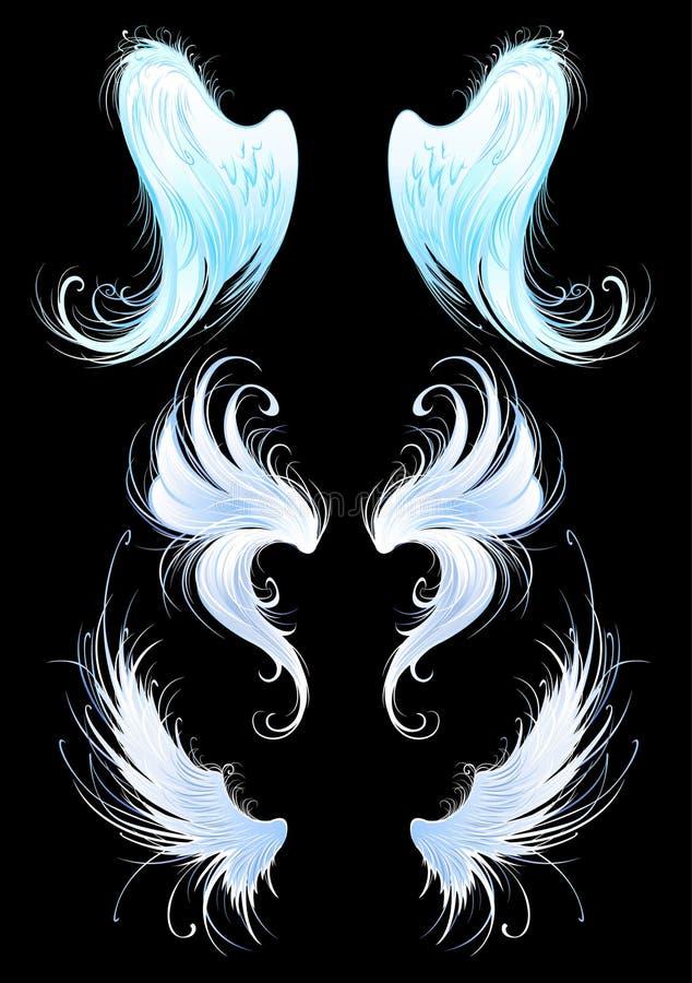 Asas dos anjos em um fundo preto ilustração stock