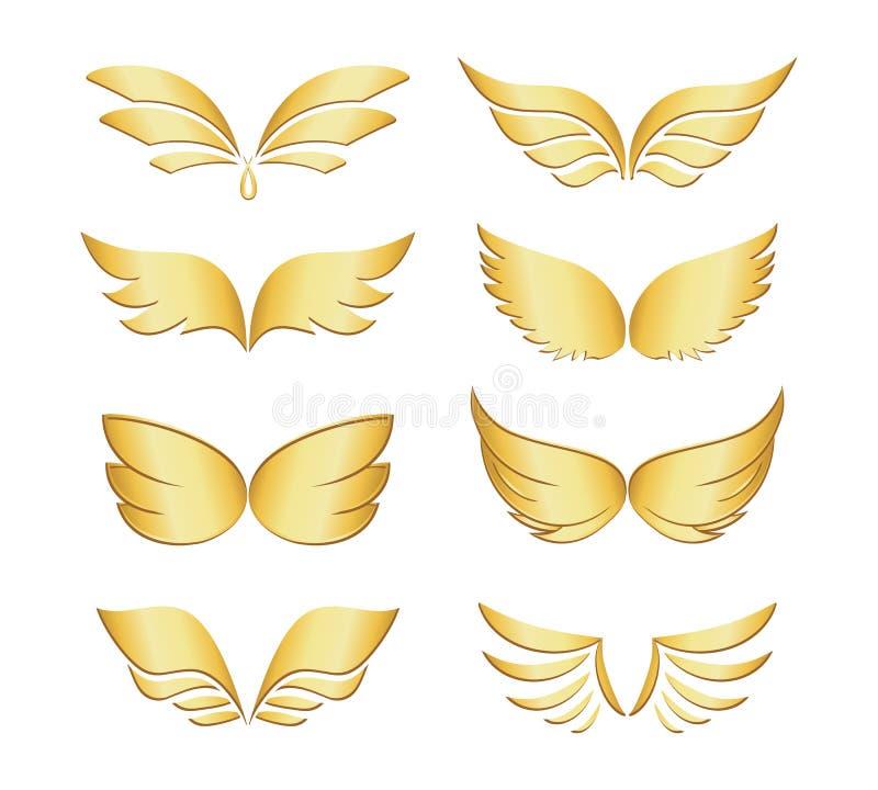 Asas douradas ilustração stock