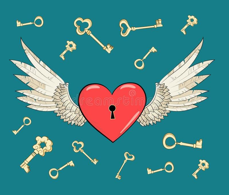 Asas e coração do vetor ilustração royalty free