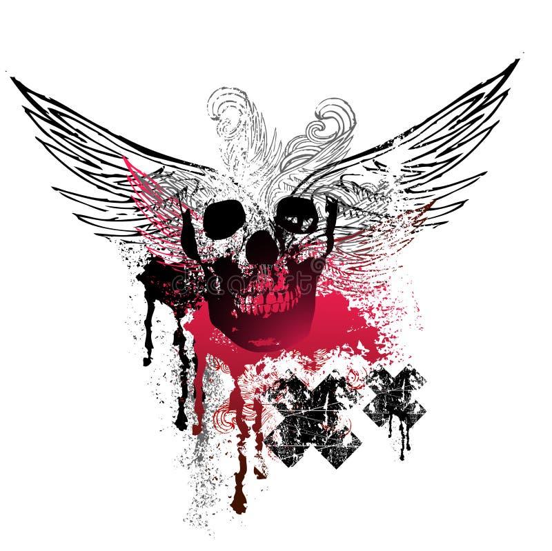 Asas e crânios de Grunge ilustração do vetor