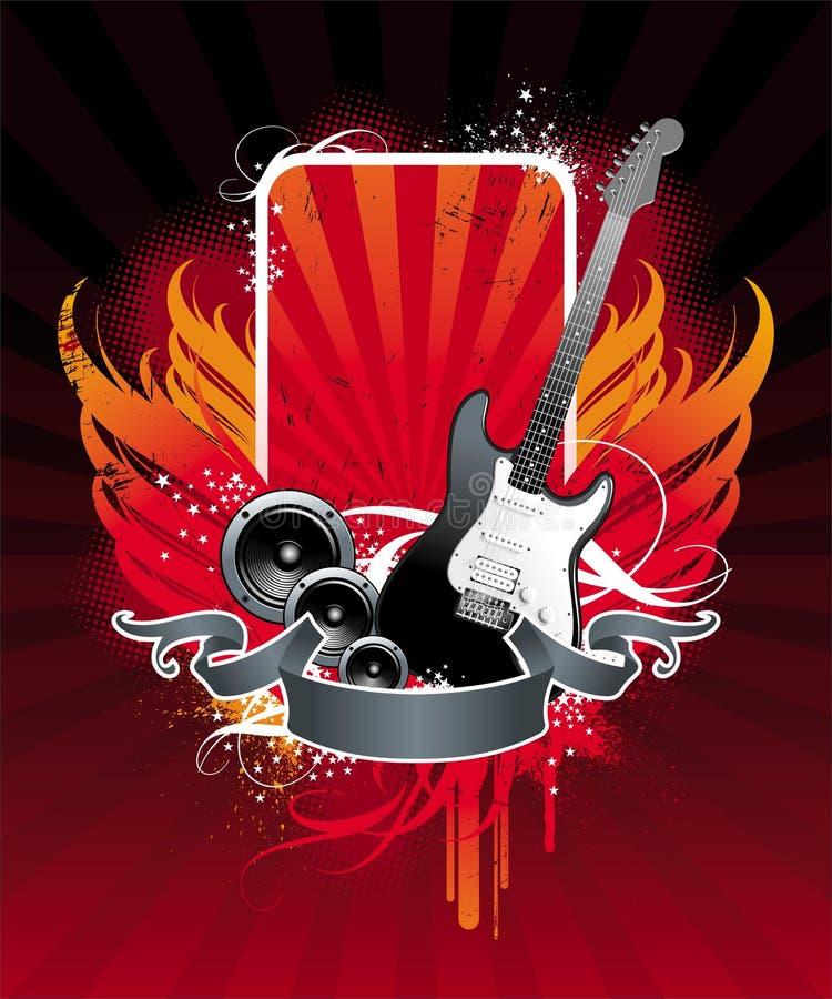 Asas e guitarra ilustração stock