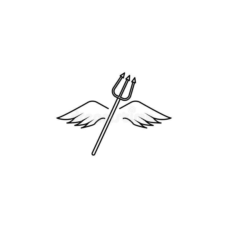 Asas e linha ícone do tridente ilustração royalty free