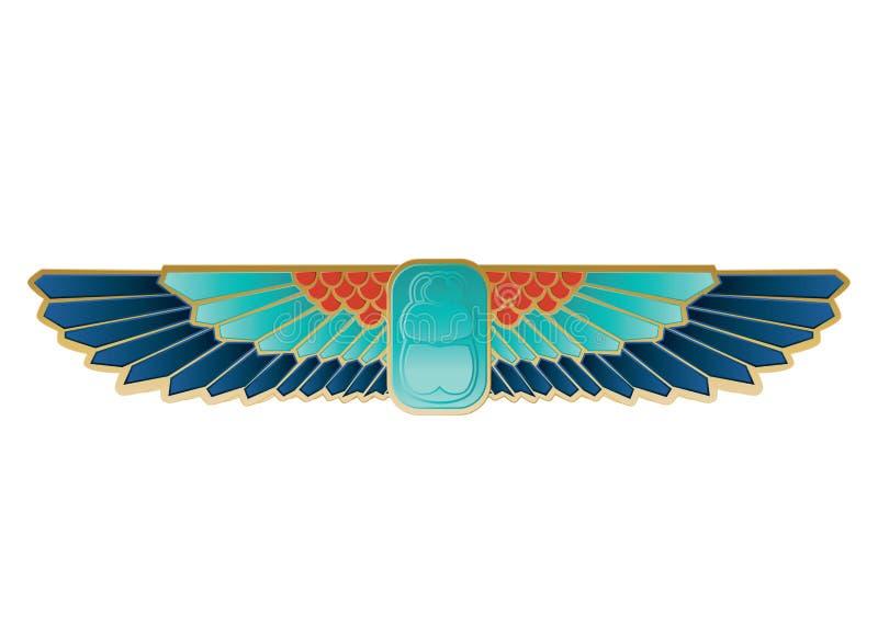 Asas egípcias do besouro do ícone ilustração do vetor