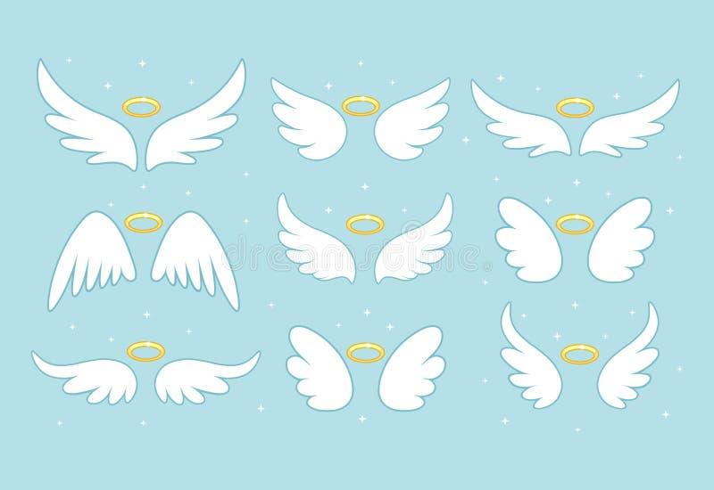 Asas feericamente do anjo da faísca com ouro nimbus, halo isolado no fundo Projeto dos desenhos animados do vetor ilustração royalty free