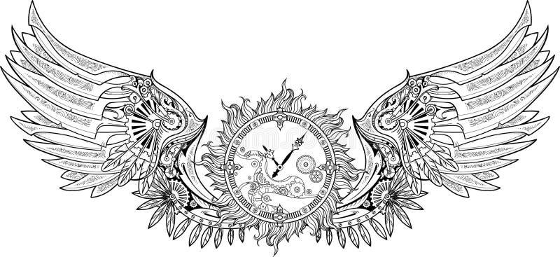 Asas mecânicas feitas no estilo do steampunk com maquinismo de relojoaria ilustração royalty free
