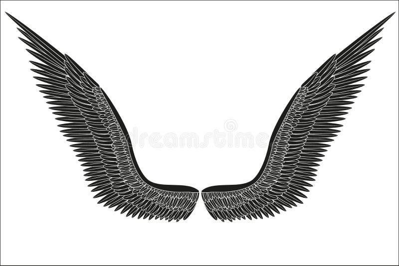 Asas pretas abertas do anjo do esboço Vetor ilustração royalty free