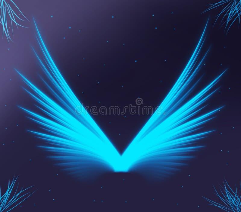Asas que incandescem azul brilhante na escuridão imagens de stock