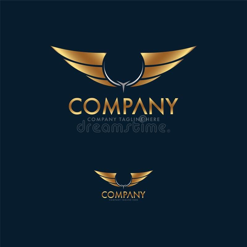 Asas superiores Logo Design Template ilustração stock