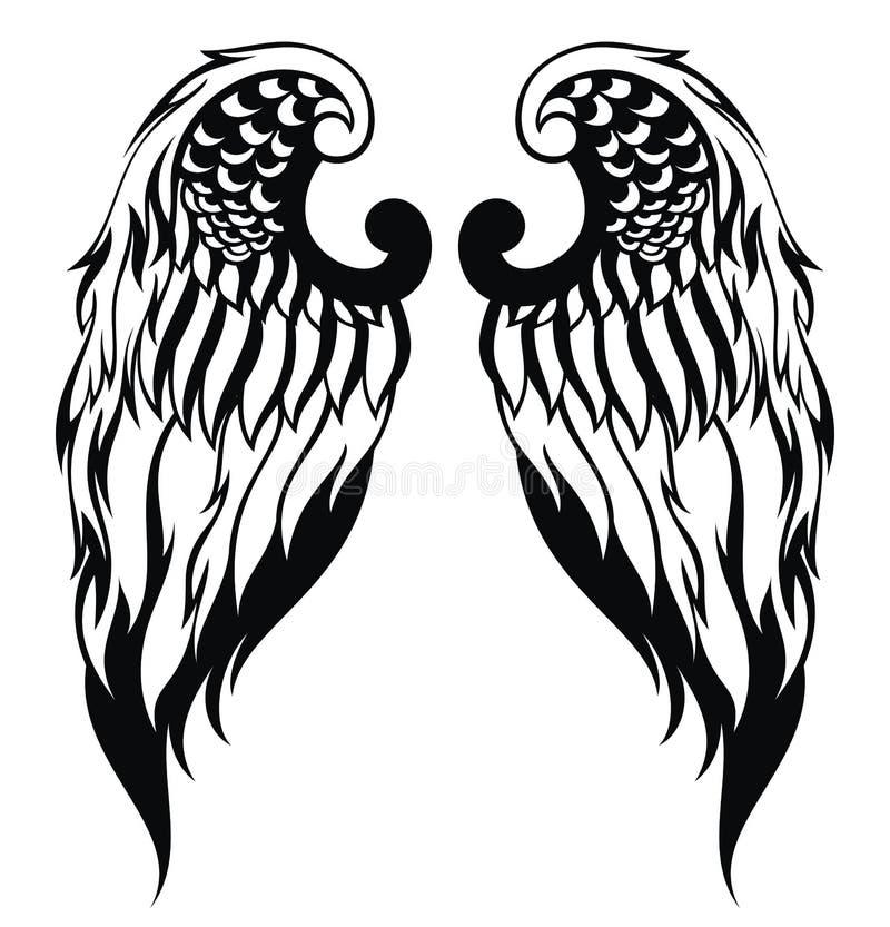 Asas tiradas mão do anjo ilustração stock