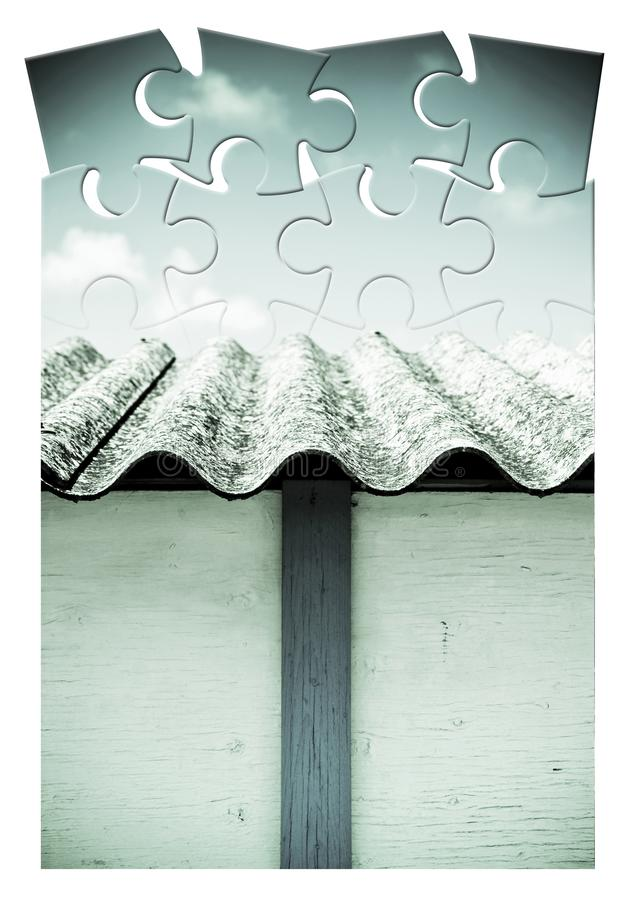 Asbestos removal  - concept image in jigsaw puzzle shape.  royalty free stock photography