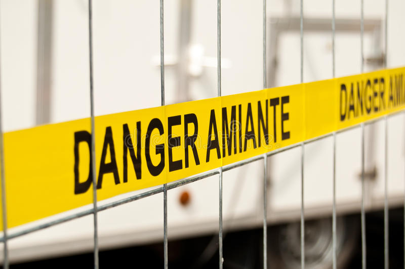 Asbestos site sign stock photography