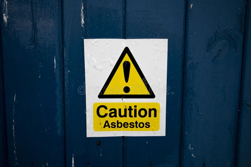 Asbestos warning sign stock photos