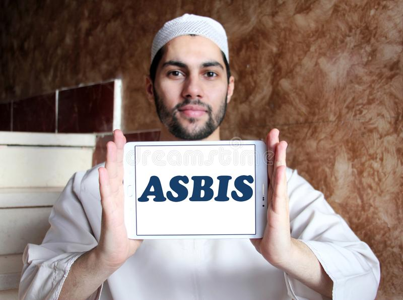 ASBIS electronics company logo. Logo of ASBIS electronics company on samsung tablet holded by arab muslim man. ASBIS Enterprises PLC is a multinational corporate royalty free stock photography